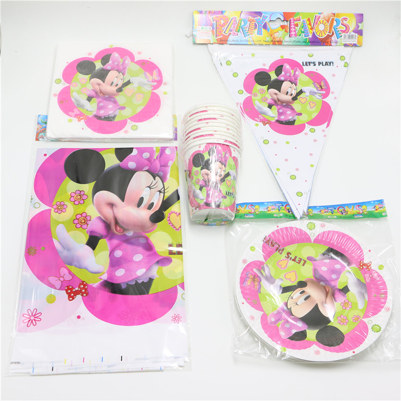 42pcs/lot White Minnie Mouse Paper Cups Paper Plate Paper Napkins Table Cover theme Party Kid Birthday Party Decoration Supplies(China (Mainland))