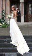 Sexy Beach Chiffon Wedding Dress 2016 New Bohemian Halter Off Shoulder Sleeveless Backless Dress Bride Bridal Dresses(China (Mainland))