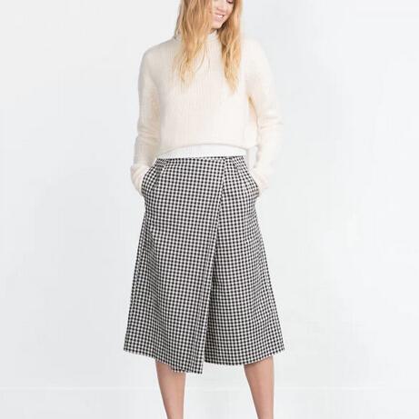 Женщины плед Брюкиkirt свободные капри элегантные брюки офисные брюки широкие ноги ...
