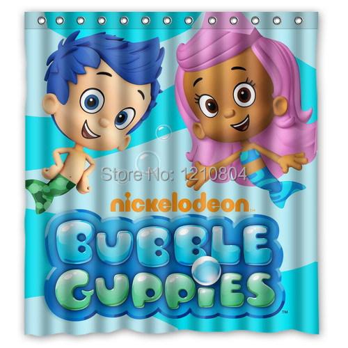 Custom Funny Cartoon Bubble Guppies Shower Curtain Amazing Decorate your bathroom(China (Mainland))