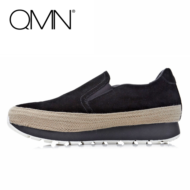 Фотография QMN brand genuine leather women casual shoes Women Flats Slip On Loafers Shoes Woman Flats Zapatos Mujer 34-39
