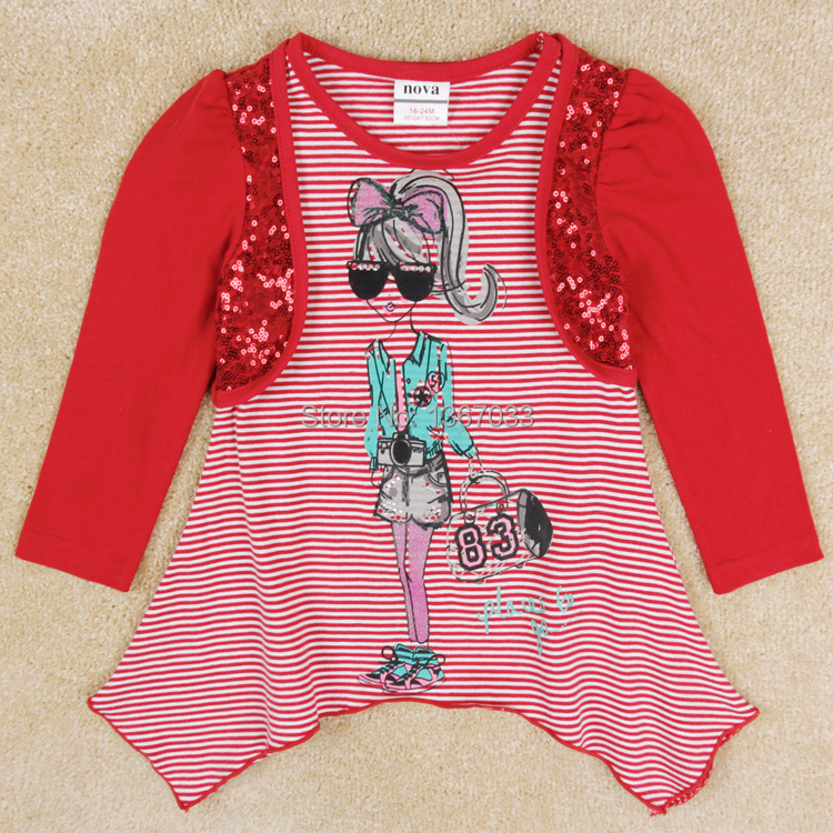 Nova 2014 fashion girls clothes fake two pieces blouse for Girls sequin t shirt