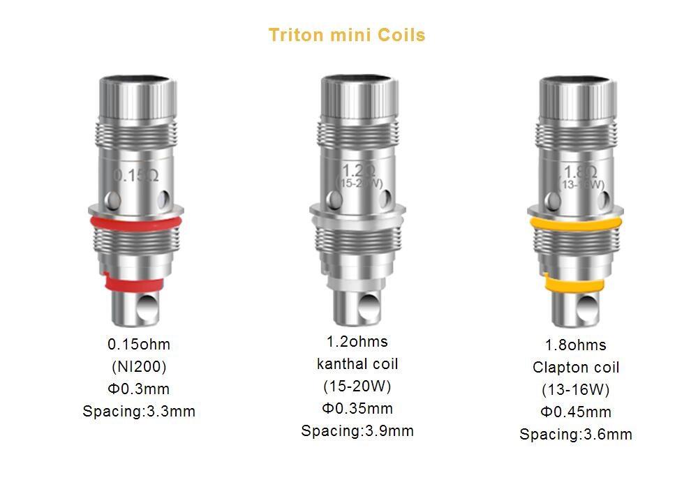 ถูก 75ชิ้น/ล็อตอุปกรณ์เสริมบุหรี่อิเล็กทรอนิกส์0.15/1.2/1.8ohm Aspire Tritonมินิขดลวดขดลวดเปลี่ยนโปรโมชั่น