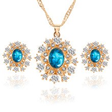 Gold Plated Sapphire Jewelry Sets For Women Blue Crystal Rhinestone Necklaces Earrings jewelry Set  Wedding Jewellery FS62212(China (Mainland))