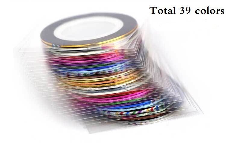 Striping Tape Line Nail Art Sticker Decoration DIY Decals UV Gel Acrylic Nail Tips Nails Care Art Accessories 39 Colors(China (Mainland))