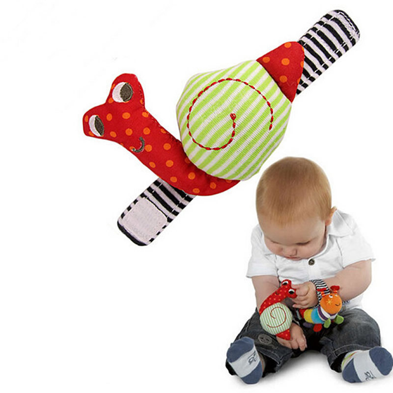 New Lovely Snail Baby Rattle Musical Baby Toy Gift Plush Wrist Rattle wrist band Educational Toys Christmas gifts for Boy girls(China (Mainland))