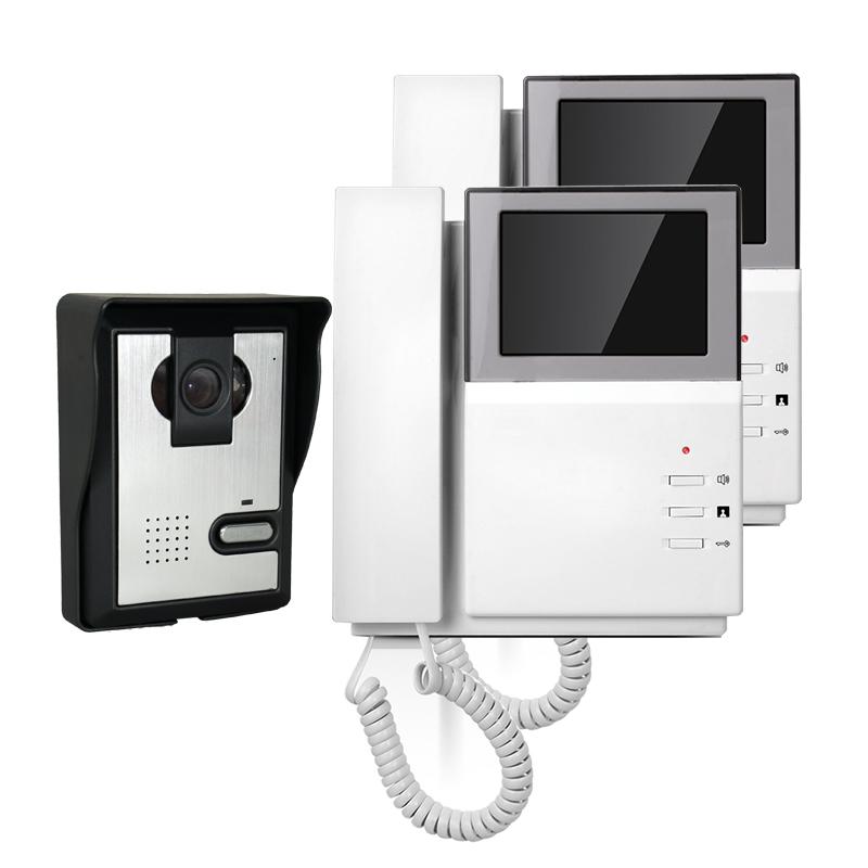 """FREE SHIPPING New Handheld 4.3"""" Color TFT Video Door phone Doorbell Intercom System 1 Waterproof Door Camera 2 Screens WHOLESALE(China (Mainland))"""
