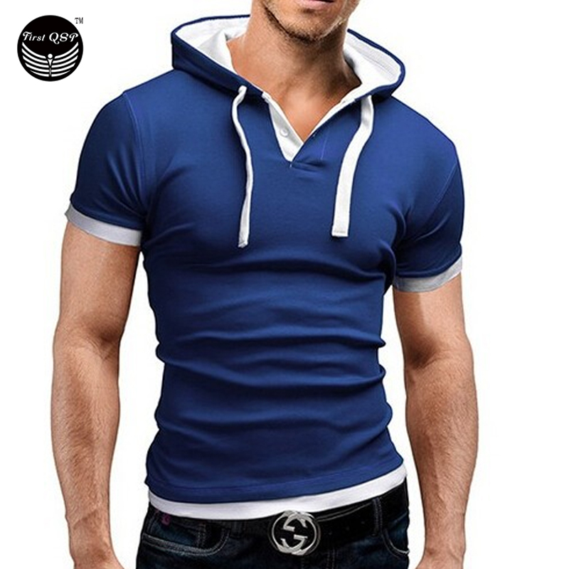 Men 39 s t shirt 2016 summer fashion hooded sling short for Dress shirts for athletic guys