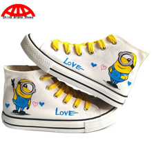 China Brand Shoes Despicable Me Minions Children Hand Painted Canvas Shoes Kids Cartoon Minion Anime Spongebob Graffiti Shoes