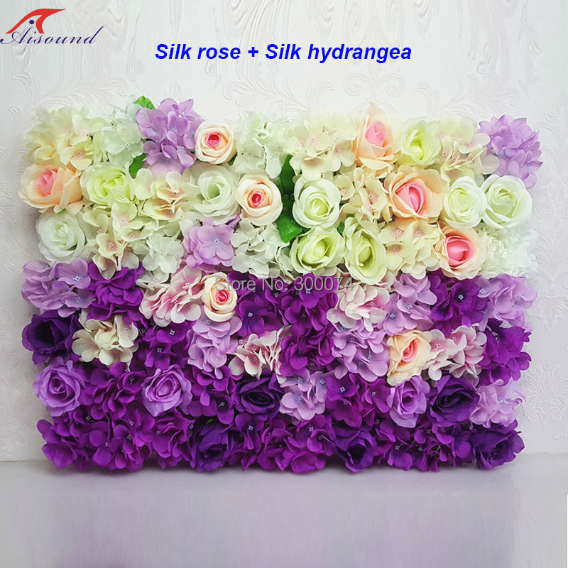 Artificial flowers backdrop for decoration