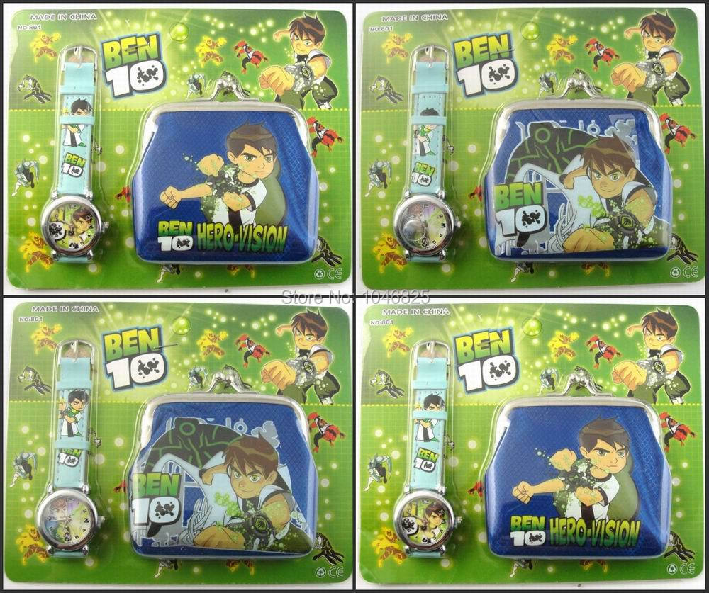 Wholesale Lots 2014 New Arrival High Quality 30PCS BEN 10 Wrist watches and Zero wallets purses Christmas Children Gife(China (Mainland))