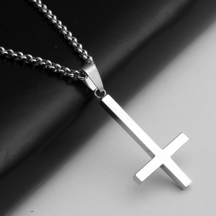 Inverted Cross of St Peter titanium steel 316LStainless Steel Pendant Necklace Lucifer Satan fashion vintage punk jewelry(China (Mainland))