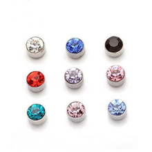 3 colors Magnetic Cartilage Hole Crystal Ear Cuff Clip Earrings Without Piercing For Men On Jewelry(China (Mainland))