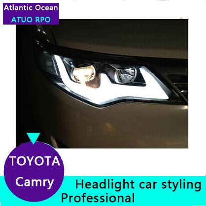 AUTO.PRO 2012-2014 toyota camry headlight bi xenon lens LED light bar LED light bar headlight car styling parking free shipping(China (Mainland))
