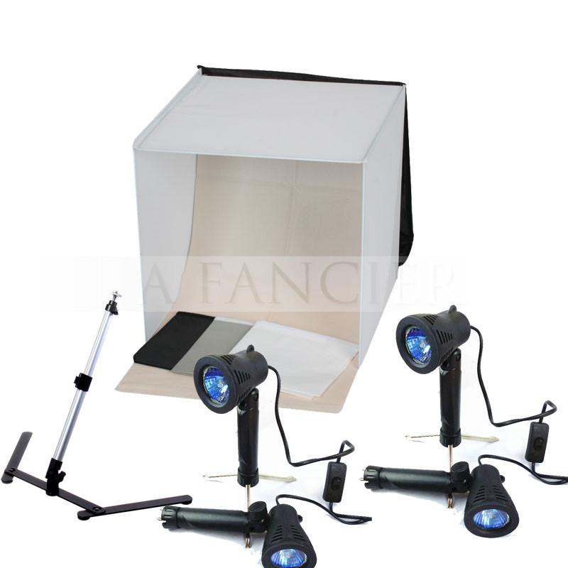 6pcs Free shipping 50CM*50CM Light Square Tent +4 Tripod Stand Bulb Photography studio kit