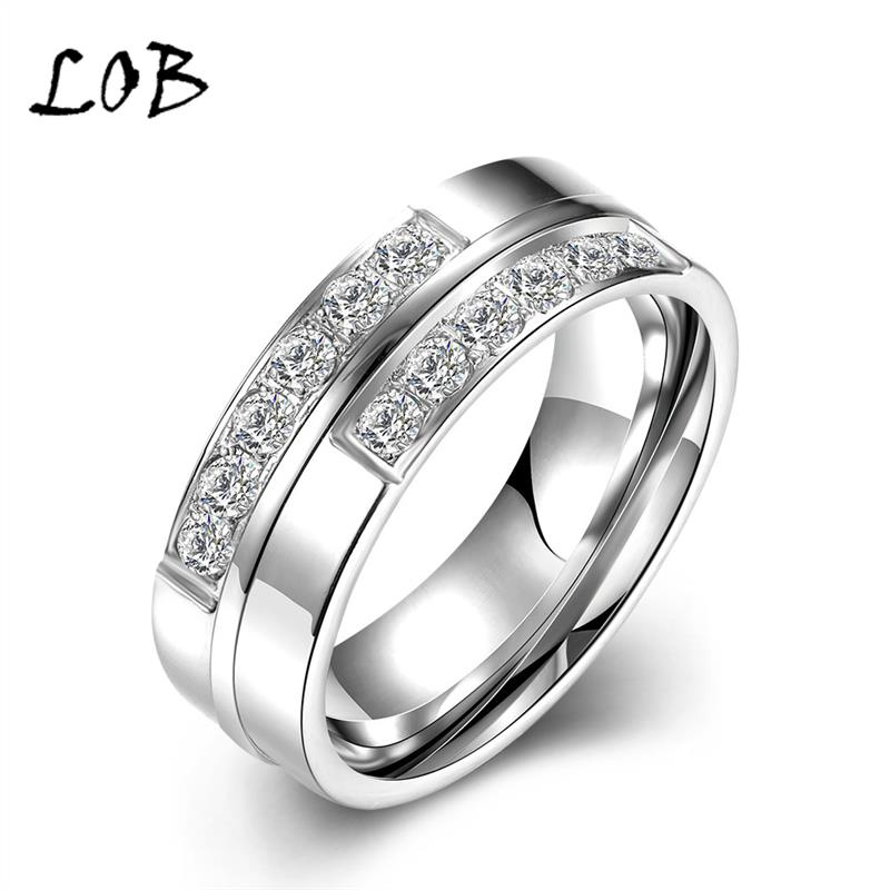 High Quality 6mm Silver Titanium Rings For Women Men 316L Stainless Steel Wedding Engagement
