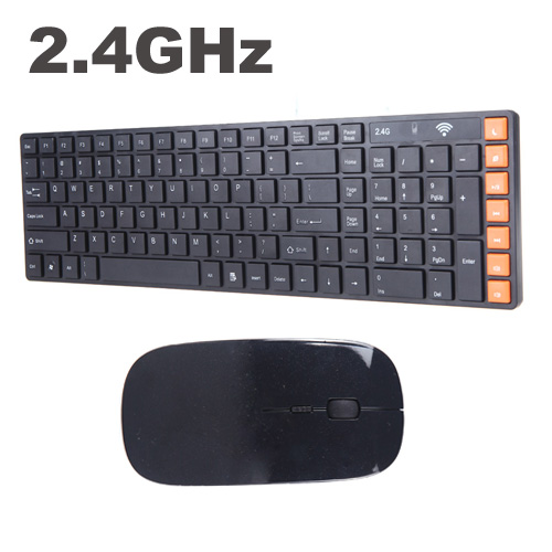 Black 2.4G Wireless Keyboard Mouse Combos Optical Wireless Keyboard Mouse for PC Laptop(China (Mainland))