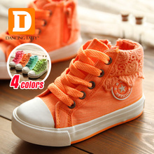 2016 New Autumn Children Shoes Casual Children Sneakers Canvas Colorful Lace Girls Sneakers High Girls Shoes Kids Size 25-37(China (Mainland))