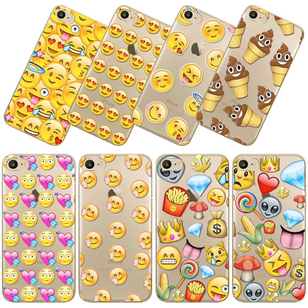 Phone Case For iPhone 7 7Plus 6 6S 5 5s 5C SE Clear TPU Cover Popular Emojj Mobile Bags Silicon Cute Thin Phone Case(China (Mainland))
