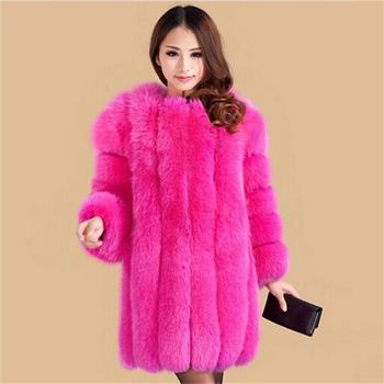 Европейский стиль зима женщины мех пальто женщины одежда роскошный женщины лисий мех пальто зима пальто размер XS-XXXL