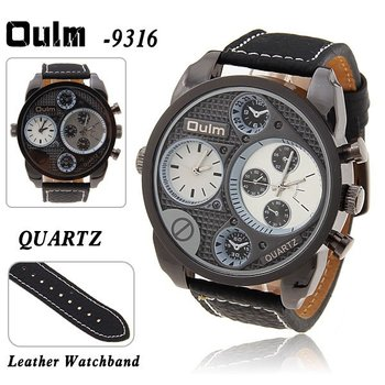 Wholesale Best Oulm Multi-Function Dual Movt Quartz  Men's Wrist Watch Leather Watchband.Free shipping.