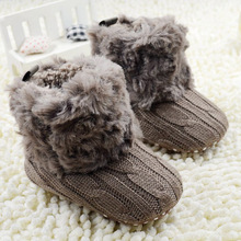 Baby Kid Knitted Fur Snow Boots 5 Color Toddlers Soft Sole Short Boots Shoes0-18 Months(China (Mainland))