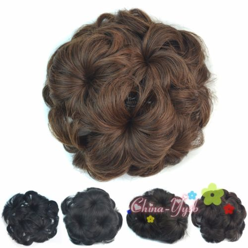 Hot Bouffant Bun Cover Hairpiece Curly Big Flower Style Chignon With Comb 2pc(China (Mainland))