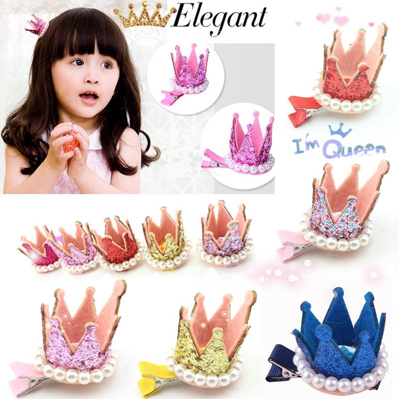 1 PCS New Kids Girls Xmas Dacing Party Hair Clips Crown Pearl Princess Barrette Ribbon hair styling(China (Mainland))