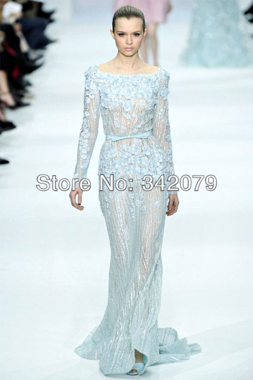 ph08390 haute couture long sleeve long train fully appliques long sleeve evening gowns Elie Saab(China (Mainland))