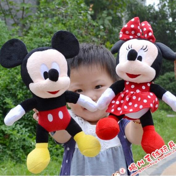 2014 New 1 Piece 28CM-30CM Mini Lovely Mickey Mouse And Minnie Mouse Stuffed Soft Plush Toys Christmas Gifts(China (Mainland))