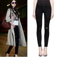 Frame denim mid waist hole denim skinny jeans female black star style pencil pants