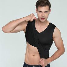 여름 탱크 탑 휘트니스 망 원활한 v-목 소년 슬림 운동복 높은 탄성 undershirt 화이트 캐주얼 남성 운동 탑스 티셔츠(China)