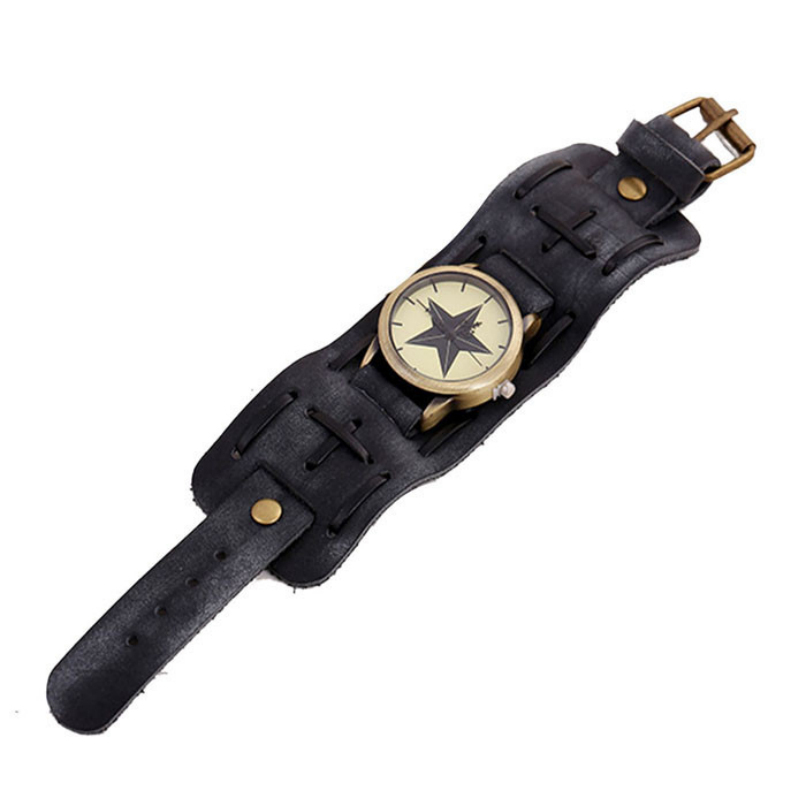 Attractive Stylish Retro Punk Rock Big Wide Leather Bracelet Cuff Men Watch gift AG25