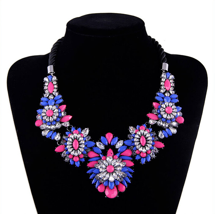 2015 Sale New Women Popular Fashion Jewelry Crystal Gem Flower by Braided Rope Short Necklace For Women Chokers Necklaces N1721(China (Mainland))