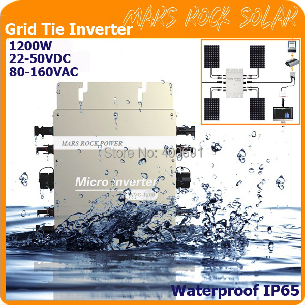 waterproof, 1200W grid tie micro inverter with communication, 22-50VDC 80-160VAC for 36V system, with 2 meter three-core cable(China (Mainland))