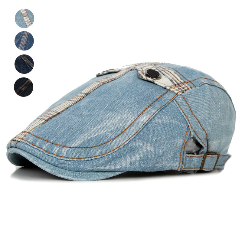 Fashion Summer Jeans Hats for Men Women High Quality Casual Unisex Denim Beret Caps OutDoors Flat Cap for Cowboy(China (Mainland))