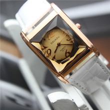New fashion qualities women dress watches ladies crystal rectangular dial leather strap wrist watch vintage clock montre femme(China (Mainland))