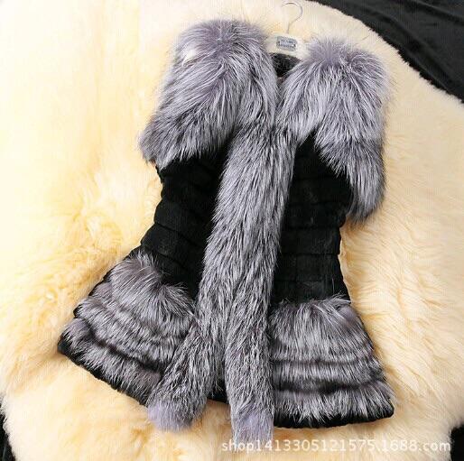 2015 New Winter Women warm faux fox fur vest faux fur Coat girls faux fur Jacket fashion lady tank top coats vestido