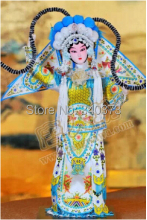 """Free Shipping 30cm tang dynasty China doll silk man doll crafts gift Peking Opera """" The lady takes command"""" Statue 12 inch(China (Mainland))"""