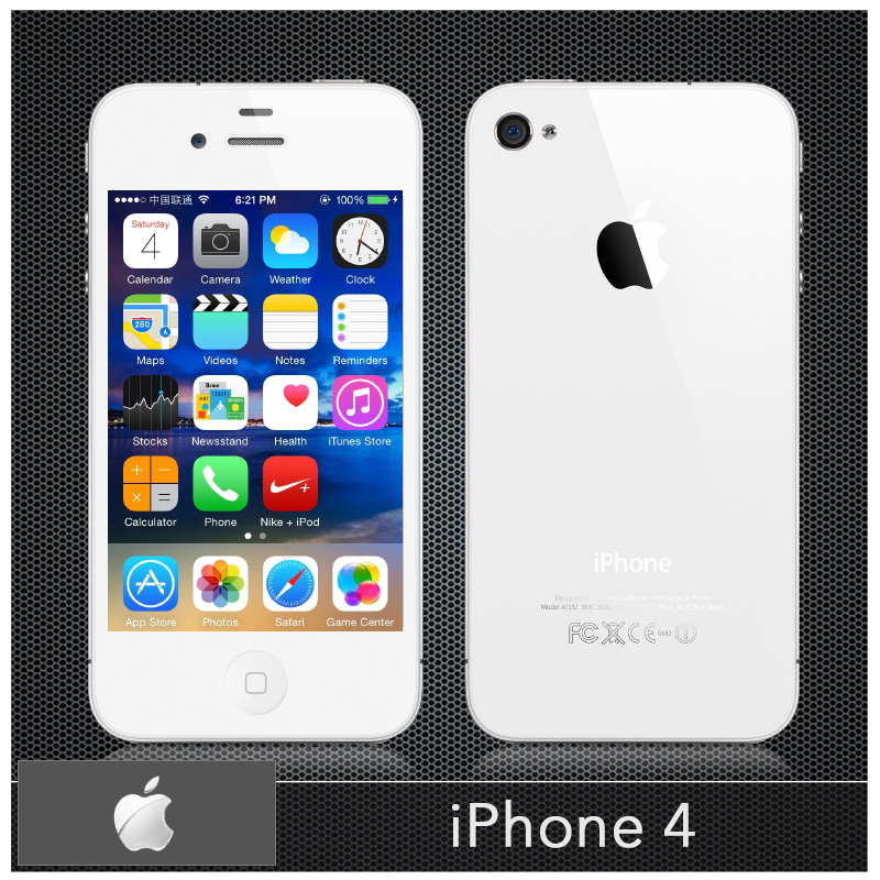 "iPhone4 Original Apple iPhone 4 Unlocked Mobile phones 8GB/16GB/32GB 3.5"" IPS 5MP Camera IOS 7 3G Wifi USED Cellphone 1420mAh(China (Mainland))"