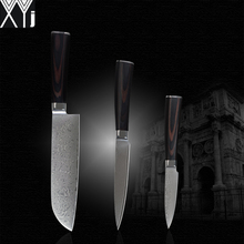 Buy XYJ VG10 damascus knives set 7 inch santoku 5 inch utility 3.5 inch knife 71 layers damascus steel kitchen knives cooking tools for $70.33 in AliExpress store