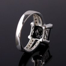 Bulk Lots 6 Pieces JV0698 Party Gift Yin black Onyx 9x9mm Square Stone Silver Fashion Ring