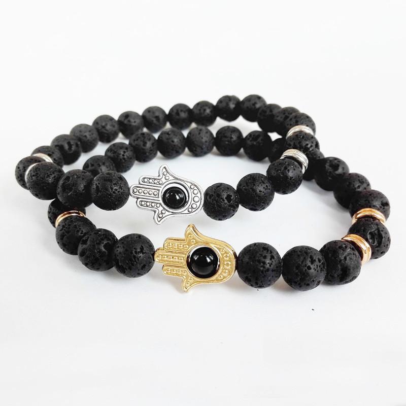Hot Sale Jewelry Black Lava Energy Stone Beads 24K Gold Hamsa Bracelets New Products Yoga Mala for Men's and Women's GIft(China (Mainland))