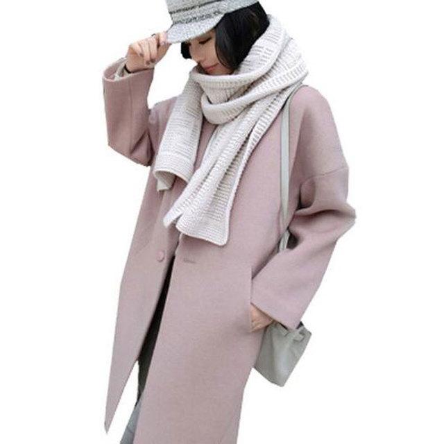 Новая Коллекция Весна Осень Пальто Женщин Теплая Шерсть Розовый Пальто Длинные женские Кашемировые Пальто 2016 Европейский Стиль Мода Куртка И Пиджаки AE1843