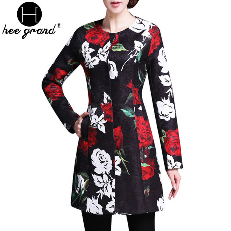 2016 Spring New Fashion Floral Embroidery Manteau Femme Full Sleeve O-neck Jacket Women Covered Button Long Woman Coat WWD240