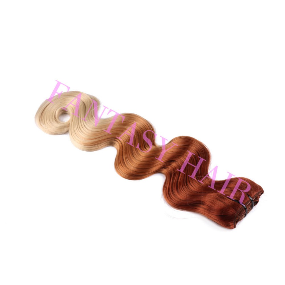 8pcslot red blonde ombre Brazilian long body wave synthetic full head clip in hair extensions for wome heat resistant no tangle-7