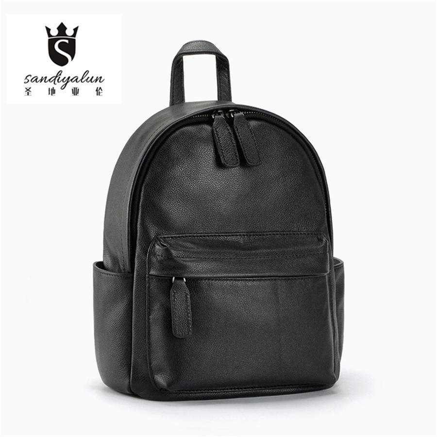 School zipper bag - New Style Genuine Leather Women Backpack Zipper School Bags Famous Designer Brand Teenagers Girls Backpack Casual