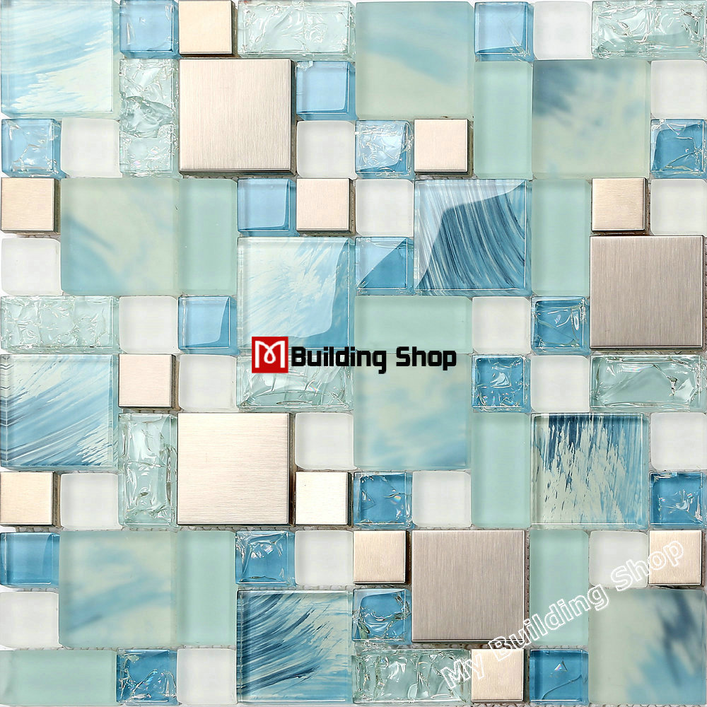 Blue Glass Mosaic Glass Tiles Backsplash Ssmts306 Silver Metal Mosaic Kitchen Wall Tile Bathroom