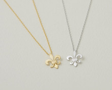 2015 Gold Silver Minimalist Jewlery Stainless Steel Metalwork Fleur De Lis Charm Necklace Scouting for Boys