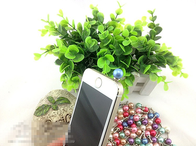 50pcs/lot wholesale Pearl dust plug Cell phone plug earphone jack anti dust For iphone samsung ipad mini,phone accessories